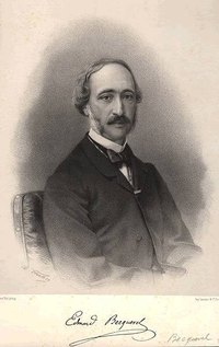Foxing is the development of dark brown splotches, as seen near the bottom of this lithograph of physicist Alexandre Edmond Becquerel