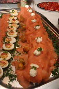 smoked salmon on banquet table