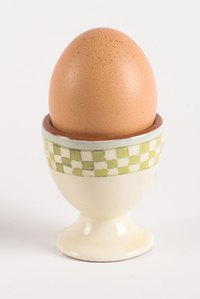 Soft-boiled eggs are traditionally presented in an egg cup