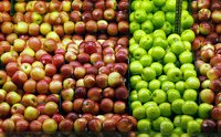 Apples vary in size, color, and type.
