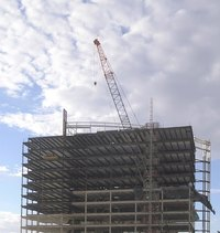Steel beams are used in the manufacture of skyscrapers.