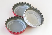 Recycle bottle caps to make crafts.