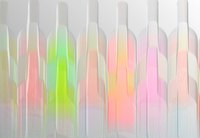 Colored glowing bottles