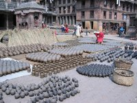 Many types of clay pots