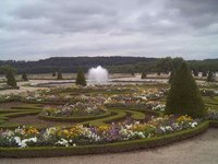 The colorful gardens at Versailles use many different types of plants and flowers.