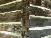 Hand-hewn logs in a house