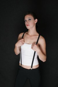 Make a fashion statement with your ribbon suspenders.