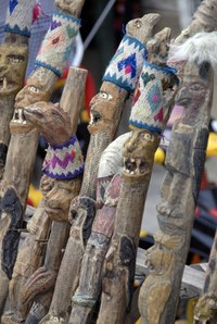Experienced woodcarvers frequently add eye-catching flourishes to their walking sticks.