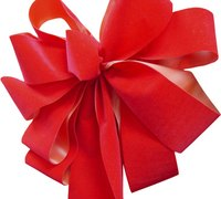 Make a bow for a teddy bear to embellish a gift.