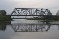 Many truss bridges like this one use triangles to distribute weight.