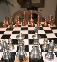 Enjoy a game of chess with a homemade chess board.
