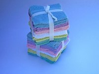 Washcloths also can be folded simply and tied with a ribbon.