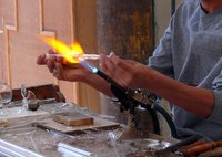 Blowtorches or Bunsen burners are ideal for glass melting.