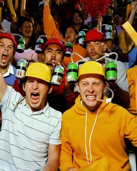 Soda-drinking hats can be a unique way to show your team spirit.