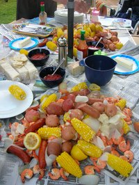 A shrimp boil party is fun for family and friends.