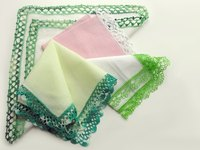 You can make a lady's handkerchief trimmed with lace.