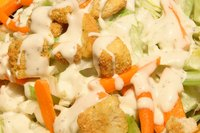 Ranch dressing adds a creamy touch of flavor to salads.