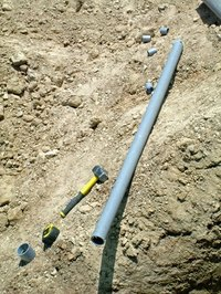 Electrical PVC pipes are gray to prevent damage from the sun.