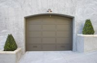A garage door, closed and problem-free