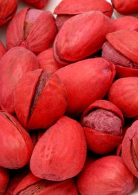 Pistachios are sometimes colored with red dyes.