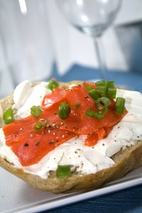 Cream cheese is a popular topping on breads such as breakfast bagels.