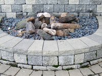 Granite makes an attractive addition to a fire pit area.