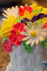 Candy flowers can be made days before the cake is served.