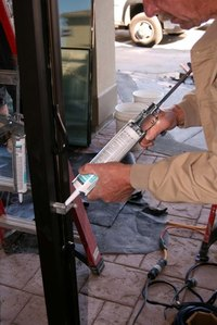 Polyurethane caulk can be applied with a caulk gun.