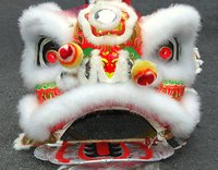 Lion masks are used in Chinese New Year celebrations.