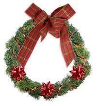 Use a wire frame as a starting point in making a Christmas wreath.