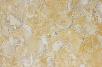 Travertine flooring provides natural beauty.