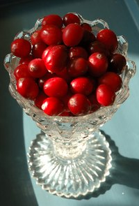 Cranberry displays accent tables