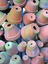 Aged terra-cotta pots add interest to a garden.