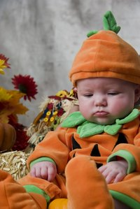 Pumpkin costumes can be altered to fit a variety of sizes.