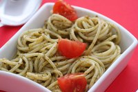 Pesto sauce is a tasty pasta accompaniment.