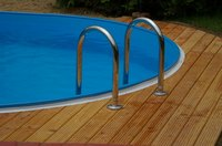 When installing a pool ladder on a deck, use a deck latter in place of an a-frame ladder.