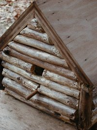 Create a birdhouse using twigs for a rustic look.
