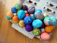 Celebrate Easter with a rainbow of multicolored dyed eggs.