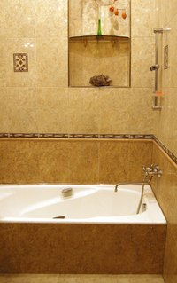 Stone tile decorated bathroom