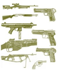 Several kinds of guns need to be well oiled.