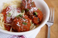 Spaghetti and meatballs rule the meal, rendering sides as secondary.