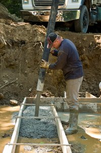 Concrete footers support the foundation of a building.