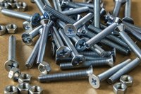 A close-up of assorted nuts and bolts.