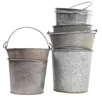 Create a charming statement with galvanized bucket decorations.
