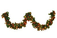 Add interest to your home's exterior with garland during the Christmas season.