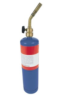 This common propane torch provides the necessary heat to braze pipe.