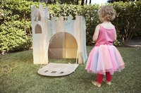 Tulle and satin complement each other in a festive, tutu dress.