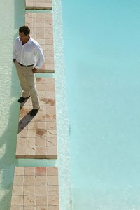 Sandstone is an attractive paving material for patios and poolsides.