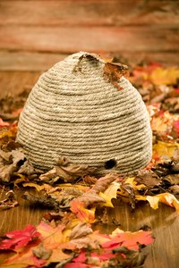 Wrap beige yarn to make a realistic-looking beehive.