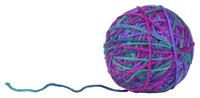 Knit a small ball with worsted weight yarn.